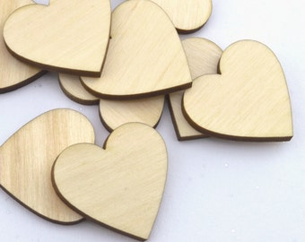 Crafting Supplies - 100 Laser cut wooden hearts 1.25 x 1.25 Inches - Made to order