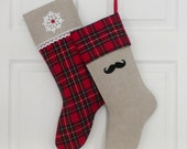 Handmade  Christmas stocking, SET of 2 stockings