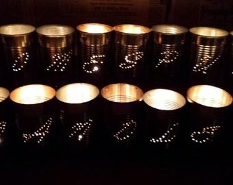 Tin punch tin can tea-light candle holder