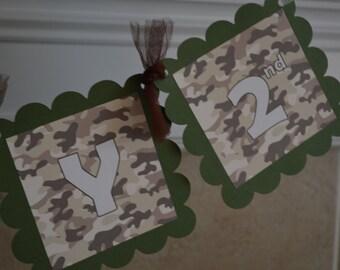Camo Birthday Banner - Camo Theme Party - Army Birthday Banner - Camoflauge Party - Army Party - Party Packs Available