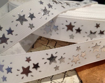 """7/8"""" Silver Metallic STAR on White grosgrain ribbon sold by the yard"""