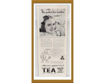 "1938 Iced Tea AD Advertising / America's natural drink Keeps you cool / 4"" x 12"" / Original B&W Advertisement / Buy 2 ads Get 1 FREE"