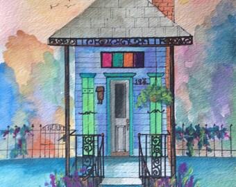 New Orleans Blue/ Green Shotgun House