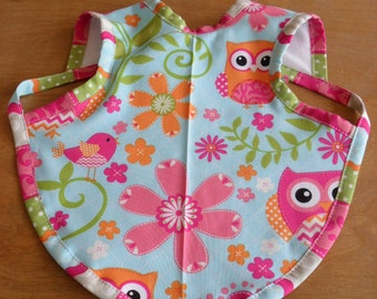 Baby Bapron Apron Bib Owl Bird Floral Print Fabric Perfect Baby Shower Gift Size 6-18m or 24M-3T Baby Bib