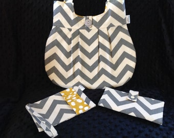 Gift set!   Gray chevron purse with mustard dot, clutch, wallet set!