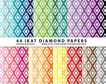 """Ikat Diamonds Digital Paper Pack 12"""" x 12"""" Commercial and Personal Use Allowed - printable 44 sheets (Ikat Diamond) INSTANT DOWNLOAD"""