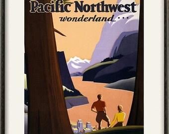 Pacific Nnorthwest print travel art print retro art print Wall poster art old prints home decor wall poster print art travel decor 12x16 art
