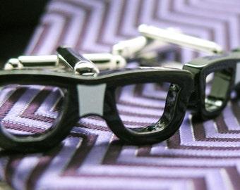 Classic Nerd Glasses Cufflinks Nerdy Cool Cut Taped Black Glasses Cuff Links