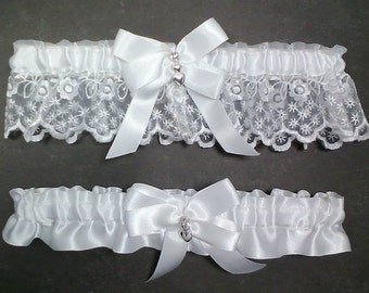 White On Wedding Garter Set Bridal Keepsake Toss