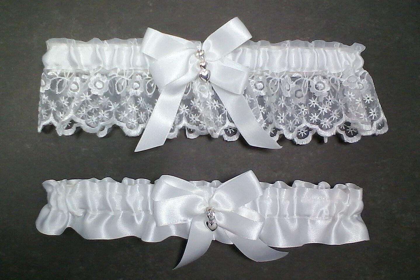 White On White Wedding Garter Set Bridal Garter Set White On