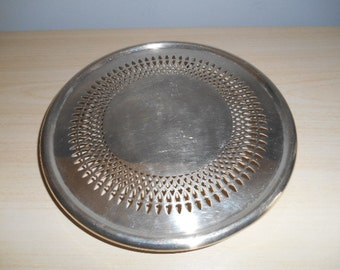 Round Trivet 3 Legs Newport Silverplate YB11, 8 inches Sunflower Design