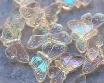6 pcs Butterfly Beads , Vintage German Beads , 18 mm , Lucite Beads  - bk051