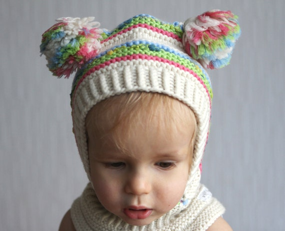 White Wool Toddler Balaclava Hat Knitted Hoodie Hat by NesyBaby