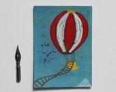 ACEO: Mongolfiera, Illustrazione originale dipinta a mano ad acrilico OOAK