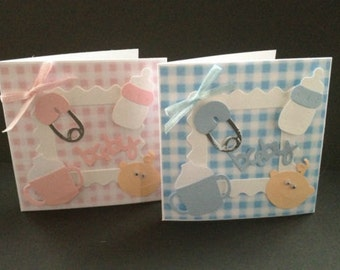 Gorgeous Cute Mni handmade New Baby Girl Boy Card with los of embellishments