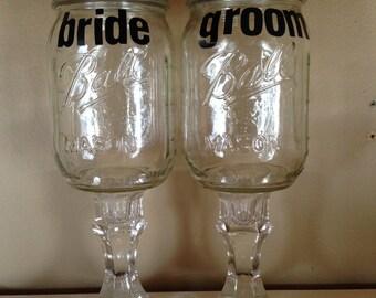 bride groom mason jars redneck wine glasses mason jar with stem bride groom wedding. Black Bedroom Furniture Sets. Home Design Ideas