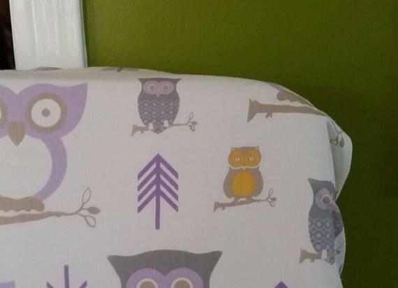 Baby gir owl l nursery fabric crib sheet valance by cmariesews for Purple nursery fabric