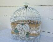 Bird Cage Card Holder, White Card Basket , Vintage Glass Knob/ Rustic Burlap Shabby Chic Style
