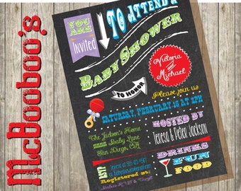 Chalkboard Couples Baby Shower invitation done in a fun poster style