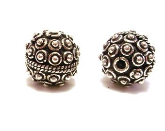 2 Round Silver Plated Copper Beads, Unique Focal Beads, 12mm Silver Beads, Masculine Beads, Decorative Bead, Kashmiri Bead, Qty 2