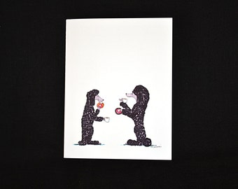 Donut Poodles: Poodle note card (blank inside) with white envelope