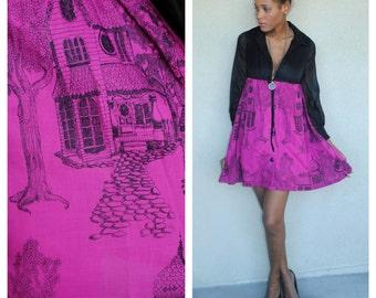 vintage novelty scenic print + chiffon mini dress. Empire Waist. size small. long sleeve. chiffon bodice. party mini short dress