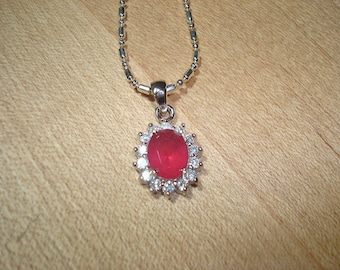 Diamond Cut White Sapphire And Ruby 925 Sterling Silver Pendant / Necklace