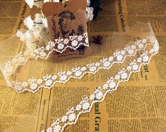 """DIY organza Lace ribbon flower ambroidered ribbon DIY material 1"""" lace belt white trim"""