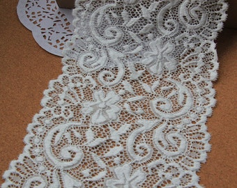 "ivory white Plum flower  wedding lace,Stretch Lace Trim - Extra Wide Lace Trim, 5.9"" Wide Lace Trim- off white lace"