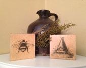 Wooden Blocks,PrimitiveBlocks, Country Decor,  Beehive Decor, Honey Bee Decor, FAAP, OFG