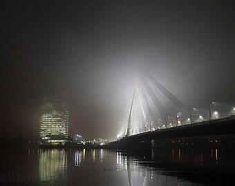 Riga By Night - Fine Art Photography - Digital photography download, City photography, night photography, fog photography, Bridge photo
