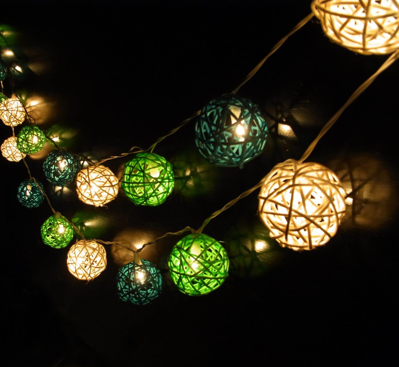 Red Rattan String Lights : 20/Set Handmade Rattan Ball String Lights Green White Dark