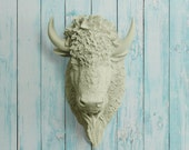 The Yellowstone in Sage - Faux Bison Head Taxidermy - Green Resin Animal Fake Fauxidermy Ceramic Wall Decor Plastic Decorative Buffalo Art