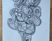 Hand drawn Zentangle Design. Black Pen on paper