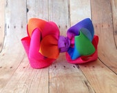 Glitter & Rainbow Large Double Stacked Hair Bow with Hair Tie