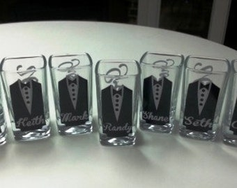 5 Personalized Shot Glasses with Tuxes, Groom and Groomsmen Wedding Glasses