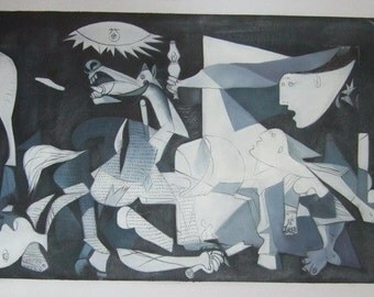 Pablo Picasso, Guernica 1937, Oil Painting Reproduction on Linen Canvas, Handmade Quality, 48 x 20 inches