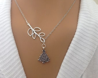 Lariat style Silver Branch and Christmas Tree Necklace