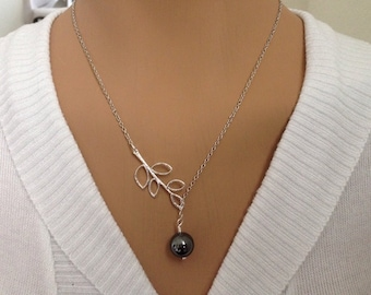 Black Pearl and Leaf Lariat Necklace!!!