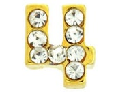 "Number ""4"" Four CZ Gold Locket Charm for Locket Necklace or Bracelet (HH9004) - HeliasHutch"
