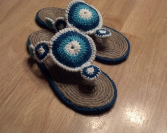 Crocheted Jute Sole Sandals