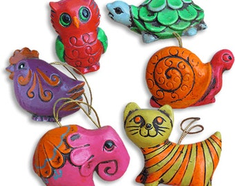 Vintage Mod Animal Christmas Tree Ornaments
