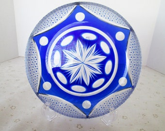 Cobalt Blue Cut to Clear Candy Dish; Similar to Bohemian Cobalt Blue Serving/Relish Dish, Pinwheel/Star-burst Design, Bohemian Glass Dish