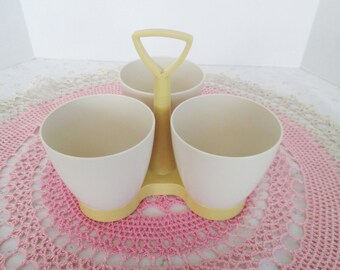 Vintage Tupperware Condiment Caddy 757-9 w/out Lids; Three-Part Serving Set w/ handle , Beige Cups with Mustard Yellow Base, Great Condition