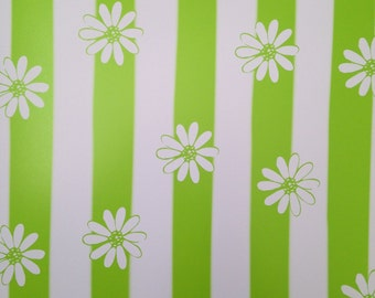 12x12 Green Striped Daisy Paper