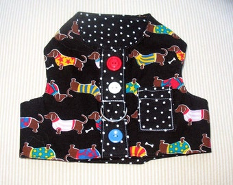Cute Black Dauchshund Harness Vest Small