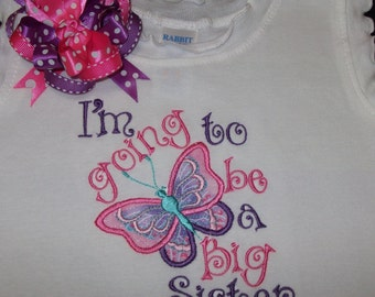 I'm going to be a Big Sister shirt with Hair bow, Little Sister, Baby Sister,  choice of colors,embroidery,