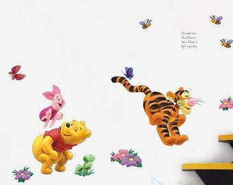 Pooh & friends play leap frog - AW749, Winnie the pooh wall sticker, winnie the pooh decal, nursery wall sticker, kids wall sticker
