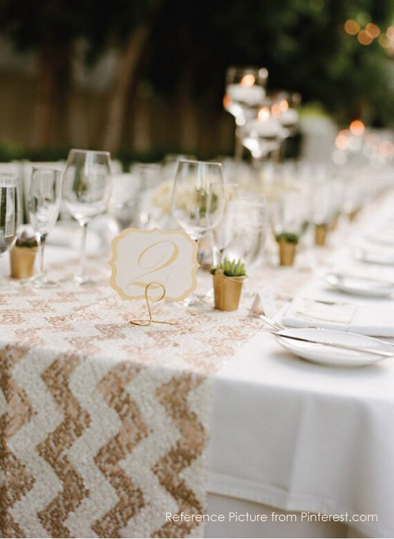 Sale Sequin Table Runner Sparkly Chevron White Amp Rose Gold
