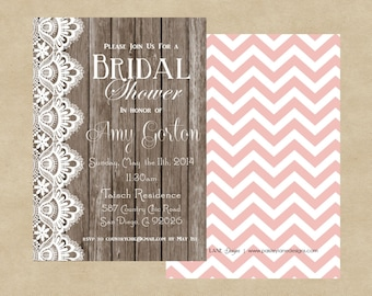 """5x7"""" Country Chic Bridal Shower Invitation"""
